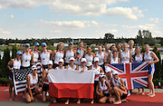 Racice CZECH REPUBLIC.   Women's Eights, awards dock,  Gold medallist GBR BW8+ with POL and USA , at the FISA World U23 Championships, held on the Racice Rowing Course, Sunday - 26/07/2009  [Mandatory Credit Peter Spurrier/ Intersport Images]