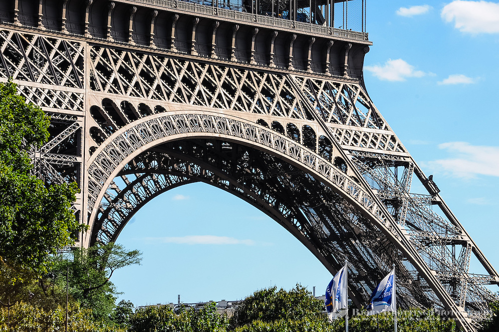 Paris, France. View from a boat on the river Seine. The Eiffel Tower, built in 1889, 320m high.