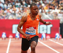July 21, 2018 - London, United Kingdom - Zharnel Hughes of Great Britain and Northern Ireland  compete in the 100m Men Final.during the Muller Anniversary Games IAAF Diamond League Day One at The London Stadium on July 21, 2018 in London, England. (Credit Image: © Action Foto Sport/NurPhoto via ZUMA Press)