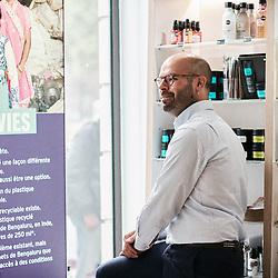 Hugues Laurencon, General Manager for France and Benelux at Body Shop, posing in their Rivoli store. Paris, France. August 25, 2020.<br /> Hugues Laurencon, Directeur general de Body Shop pour la France et le Benelux, prenant la pose dans leur magasin de la Rue de Rivoli. Paris, France. 25 aout 2020.