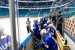The bench of Slovenia during ice hockey match between Slovenia and Lithuania at IIHF World Championship DIV. I Group A Kazakhstan 2019, on May 5, 2019 in Barys Arena, Nur-Sultan, Kazakhstan. Photo by Matic Klansek Velej / Sportida