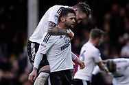 Oliver Norwood of Fulham celebrates with his team mates after he scores his team's first goal from a penalty. EFL Skybet football league championship match, Fulham v Millwall at Craven Cottage in London on Saturday 25th November 2017.<br /> pic by Steffan Bowen, Andrew Orchard sports photography.