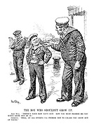 "The Boy Who Shouldn't Grow Up. John Bull. ""There's your new navy suit. Now you must promise me you won't grow out of it."" Germany. ""Well, at all events I'll promise not to unless you grow out of yours."""