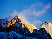 Sunrise along the east end of the Towers of the Virgin following a winter storm, Zion National Park, Utah.