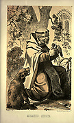 """Servite Monk - Monachus Servita from the book ' Monachologia, or, Handbook of the natural history of monks : arranged according to the Linnean system ' by Born, Ignaz Edler von, 1742-1791; Krasinski, Walerian, 1780-1855 Published in 1852 in Edinburgh by Johnstone & Hunter. This is a  Victorian anti-Catholic/anti-European satire or parody written in pseudo-scientific natural history jargon, complaining of the laziness, odd dress & weird habits (literally!), strange hours & stranger noises of various orders of monks, deposited of British shores by Papist Europeans of little merit and bad intent. Each major order of Monk is depicted & described in most unflattering terms. """"Hence it is evident, that the monk forms a distinct class of mammalia, which holds a middle place, and forms a connecting link between man and monkey."""""""