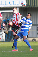 Jack Barthram and Marlon Jackson during the FA Trophy match between Oxford City and Cheltenham Town at Court Place Farm, Oxford, United Kingdom on 16 January 2016. Photo by Antony Thompson.