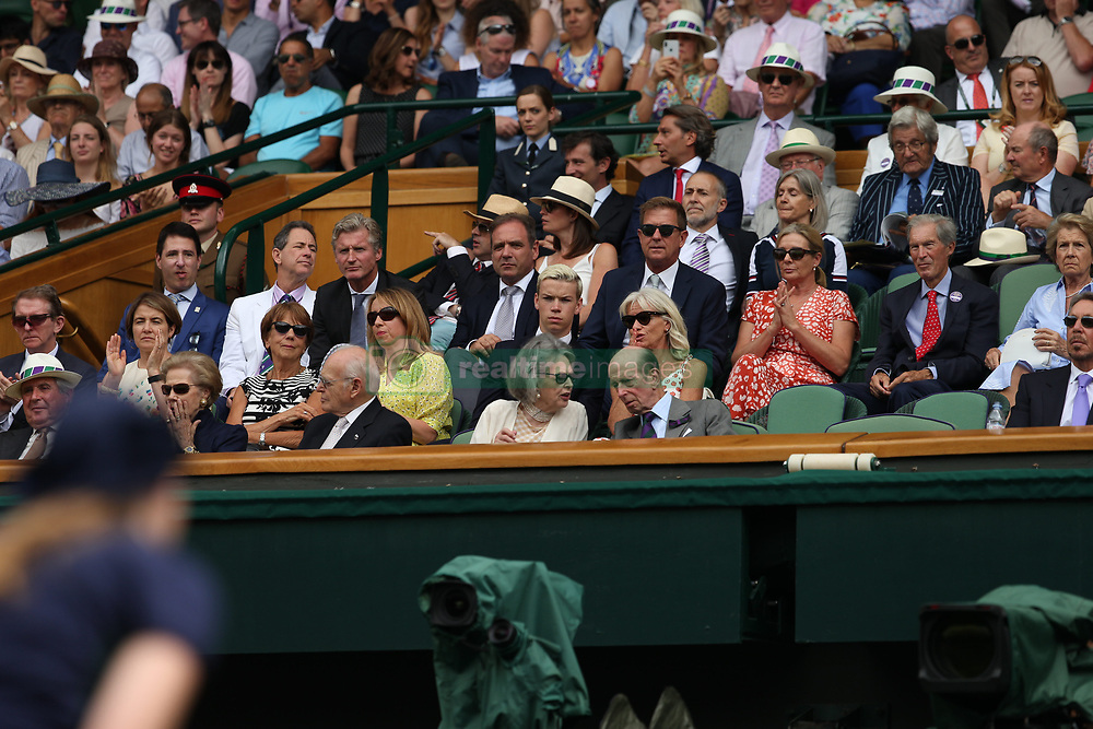 LONDON, ENGLAND - JULY 04: Will Poulter and mother Caroline attend day three of the Wimbledon Tennis Championships at the All England Lawn Tennis and Croquet Club on July 4, 2018 in London, England..People:  Will Poulter and mother Caroline (Credit Image: © SMG via ZUMA Wire)