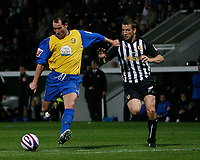 Photo: Steve Bond.<br />Notts County v Hereford United. Coca Cola League 2. 02/10/2007. Steve Guinan lines up to fire home his second goal