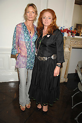 Left to right, MELANIE METCALFE and CAMILLA LOWTHER at a lunch in aid of African Solutions To African Problems held at Il Bottaccio, 9 Grosvenor Place, London on 20th May 2008.<br />