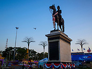 31 MARCH 2015 - BANGKOK, THAILAND: The statue of Rama V, also known as King Chulalongkorn, located on the Royal Plaza in front of Ananta Samakhom Throne Hall in Dusit Palace, Dusit. On 24 June 1932, the plaza and the throne hall witnessed one of the most important events in Thai history as the People's Party staged a bloodless revolution that transformed the country from absolute monarchy to democratic constitutional monarchy. The plaza was the rally site for People's Party supporters demanding the constitution. The first permanent constitution was ceremoniously granted in the Ananta Samakhom Throne Hall on 10 December 1932.     PHOTO BY JACK KURTZ