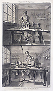 Lathes for hollow turning, top, and a pole lathe.  Engraving, London, 1764.
