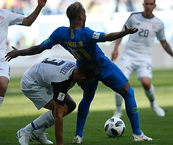 SAINT PETERSBURG, June 22, 2018  Neymar (2nd R) of Brazil falls down during the 2018 FIFA World Cup Group E match between Brazil and Costa Rica in Saint Petersburg, Russia, June 22, 2018. Brazil won 2-0. (Credit Image: © Cao Can/Xinhua via ZUMA Wire)