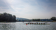Linz, Austria, Saturday,  24th Aug 2019, FISA World Rowing Championship, Regatta,  General View, crewa turning at the finish end of the course,<br /> <br /> [Mandatory Credit; Peter SPURRIER/Intersport Images]