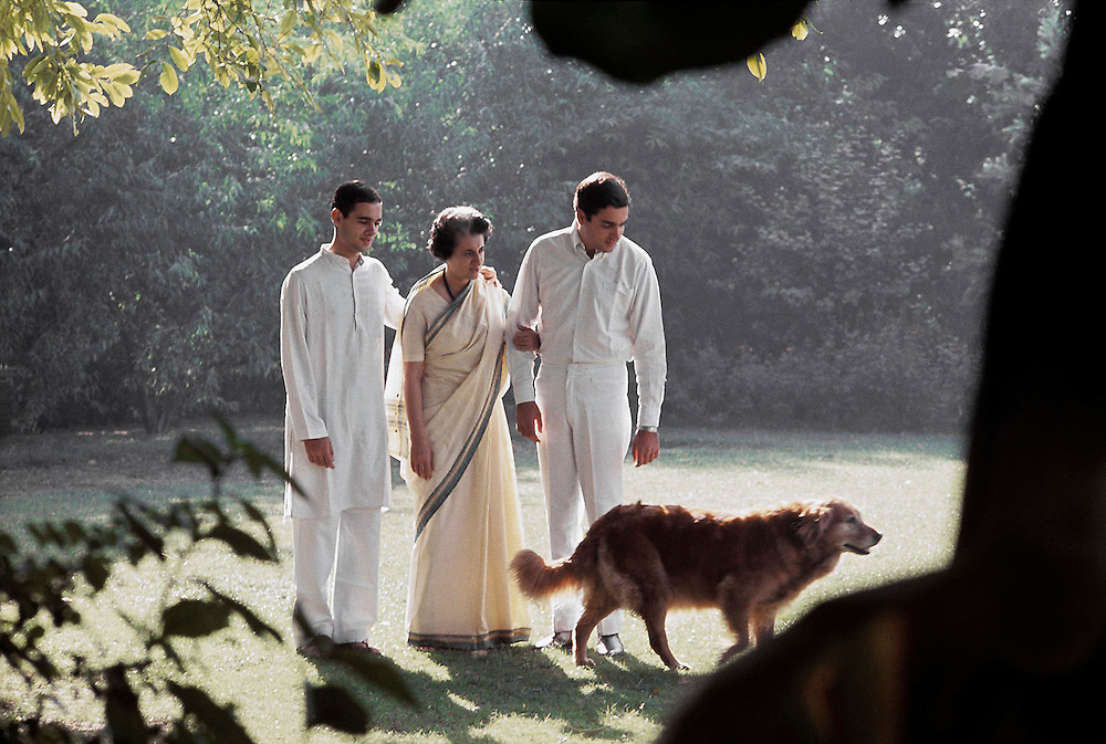 Indira Priyadarshini Gandhi seen with her two sons, Sanjay abd Rajiv at her home in Delhi, India in 1969. Photographed by Terry Fincher