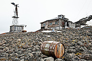 An discarded barrel at Sedov Point, an abandoned Soviet polar station in Franz Josef Land, Russian Arctic.