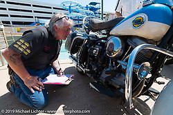 Jack Deagazio judging the annual Rats Hole Show during Daytona Bike Week. FL, USA. March 15, 2014.  Photography ©2014 Michael Lichter.