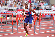 David Omoregie (GBR) in the 110m Mens Hurdles finals during the Muller Anniversary Games at the London Stadium, London, England on 9 July 2017. Photo by Jon Bromley.
