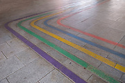 Colourful markings on the pavement on 5th August 2020 in Birmingham, United Kingdom.