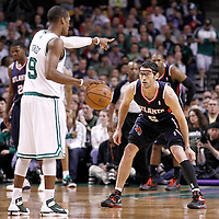 10 May 2012: Atlanta Hawks guard Kirk Hinrich (6) defends on Boston Celtics point guard Rajon Rondo (9) during the Boston Celtics 83-80 victory over the Atlanta Hawks, in Game 6 of the Eastern Conference first-round playoff series, at the TD Banknorth Garden, Boston, Massachusetts, USA.