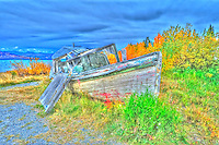 Derelict Fishing Boat HDR at Burwash Landing, Yukon Canada. On Kluane Lake along the Alaska Canada Highway. Composite of 3 images taken with a Nikon D300 and 14-24 mm lens (ISO 800, 24 mm, f/8). HDR Processed with Photomatix Pro.