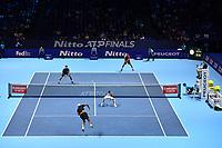 Tennis - 2019 Nitto ATP Finals at The O2 - Day Five<br /> <br /> Doubles Group Jonas Bjorkman: Lukask Kubot & Marcelo Melo vs. Rajeev Ram & Joe Salisbury<br /> <br /> Ram serves.<br /> <br /> COLORSPORT/ASHLEY WESTERN