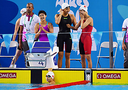 BUENOS AIRES, Oct. 9, 2018  Swimmers of China celebrate winning the women's 4X100m medley relay final at the 2018 Summer Youth Olympic Games in Buenos Aires, Argentina on Oct. 8, 2018. China won the gold with 4 minutes 5.18 seconds. (Credit Image: © Zhu Zheng/Xinhua via ZUMA Wire)