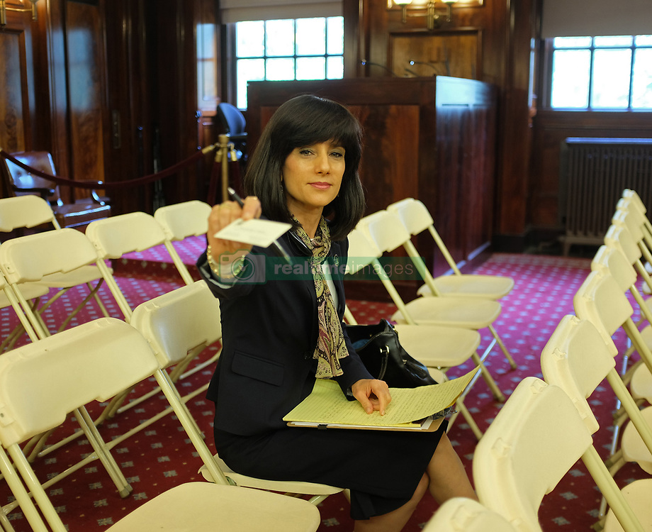 September 7, 2017 - Manhattan, New York, United States - Judge Rachel Freier offers her business card in the ny city council chamber. The Honorable Rachel ''Ruchie'' Freier, Esquire, was elected Judge of the Brooklyn Civil Court, District 5 in November of 2016, making Judge Freier the first Hasidic woman in US history to be elected to public office. In recognition of her accomplishments, the New York City Council issued a proclamation in her honor. (Credit Image: © Andy Katz/Pacific Press via ZUMA Wire)
