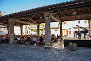 Piano concert attended by the village in the medieval square, 19th July 2015, Lagrasse France.