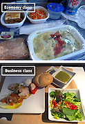 Airline Food: Economy Vs. First Class <br /> <br /> What used to be a woman's size 12 in 1968 is a woman's size 4 today; what used to be third-class is economy-class today. What changed? We've grown more sensitive: I'm not overweight, I still fit into a size 12. I'm not a third-class passenger, I'm a price conscious individual that rides in economy-class.<br /> Despite the name games, airline food hasn't changed much. Economy class meals still come in a wrapper, and business or first-class meals come with real cutlery. This list shows the sometimes striking difference between what the different classes eat.<br /> <br /> Photo shows: American Airlines<br /> ©Exclusivepix Media