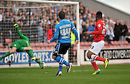 Ross McCormack of Leeds United watches his shot beat Luke Steele goalkeeper of Barnsley during the Sky Bet Championship match at Oakwell, Barnsley<br /> Picture by Graham Crowther/Focus Images Ltd +44 7763 140036<br /> 19/04/2014
