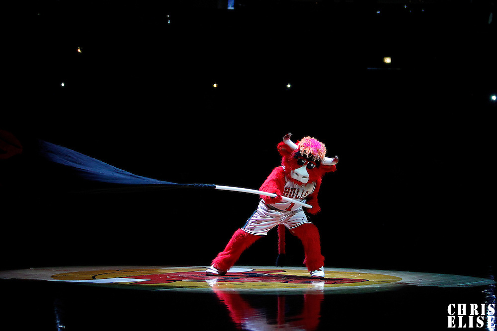 16 March 2012:  Benny da Bull is seen prior to the Portland Trail Blazers 100-89 victory over the Chicago Bulls at the United Center, Chicago, Illinois, USA.