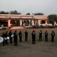 Asia, India, Jaipur. Band performance at Dera Amer elephant trek camp.