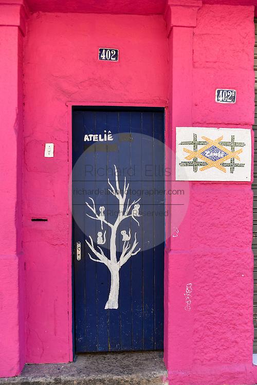 A colorful doorway in the trendy neighborhood of Santa Teresa in Rio de Janeiro, Brazil.