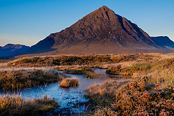 Buachaille Etive Mòr just after dawn on a cold autumn morning.  Rannoch Moor, Highlands of Scotland.<br /> <br /> (c) Andrew Wilson | Edinburgh Elite media