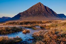 Buachaille Etive Mòr just after dawn on a cold autumn morning.  Rannoch Moor, Highlands of Scotland.<br /> <br /> (c) Andrew Wilson   Edinburgh Elite media