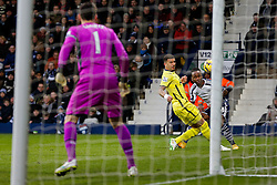 Saido Berahino of West Brom shoots as Kyle Walker of Tottenham Hotspur challenges - Photo mandatory by-line: Rogan Thomson/JMP - 07966 386802 - 31/01/2015 - SPORT - FOOTBALL - West Bromwich, England - The Hawthorns - West Bromwich Albion v Tottenham Hotspur - Barclays Premier League.