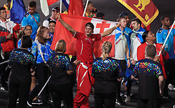 A member of Team Tonga during the Closing Ceremony for the 2018 Commonwealth Games at the Carrara Stadium in the Gold Coast, Australia.