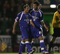 Photo: Lee Earle.<br /> Plymouth Argyle v Cardiff City. Coca Cola Championship. 12/09/2006. Cardiff's Joe Ledley (R) congratulates Michael Chopra after he scored their second.