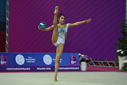 April 13, 2018 - Pesaro, Italy - Rhythmic gymnast AGIURGIUCULESE Alexandra of Italy performs her ball routine during the FIG 2018 Rhythmic Gymnastics World Cup at Adriatic Arena on 13 April 2018 in Pesaro Italy. (Credit Image: © Franco Romano/NurPhoto via ZUMA Press)