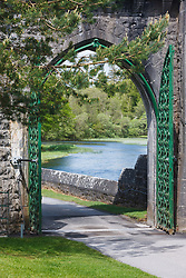 Gate at Ashford Castle, built in 1228 and now a luxury resort, Cong, County Mayo, Ireland