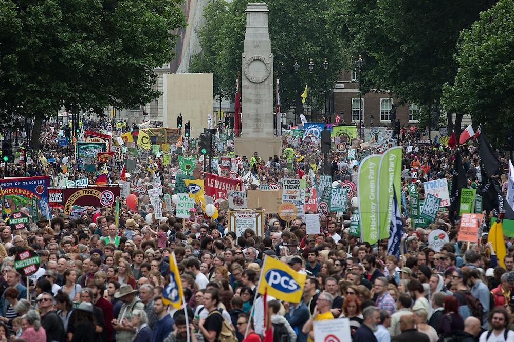 © Licensed to London News Pictures . 20/06/2015 . London , UK . Crowd on Whitehall . Tens of thousands of people march from the Bank of England to Parliament , to protest economic austerity in Britain . Photo credit: Joel Goodman/LNP