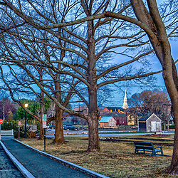 Prescott Park and Mechanic Street in Portsmouth, New Hampshire.