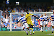 Massimo Luongo of QPR and Ronaldo Vieira of Leeds United competing for the ball. Skybet EFL championship match, Queens Park Rangers v Leeds United at Loftus Road Stadium in London on Sunday 7th August 2016.<br /> pic by John Patrick Fletcher, Andrew Orchard sports photography.