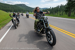 Custom bike builder Brad Gregory on the Cycle Source ride down Vanocker Canyon back from Nemo to the Iron Horst Saloon during the Sturgis Black Hills Motorcycle Rally. SD, USA. Wednesday, August 7, 2019. Photography ©2019 Michael Lichter.