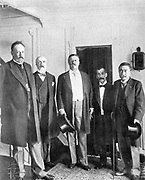 Russo-Japanese War 1904-1905: Treaty of Portsmouth. Peacemakers on board the 'Mayflower'. Count de Witte, Baron Rosen, President Theodore Roosevelt, Baron Komura and M. Takahira