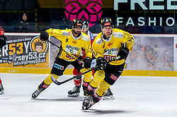 30.12.2019, Ice Rink, Znojmo, CZE, EBEL, HC Orli Znojmo vs Vienna Capitals, 33. Runde, im Bild v.l. Ali Wukovits (spusu Vienna Capitals) David Bartos (HC Orli Znojmo) Ty Loney (spusu Vienna Capitals) // during the Erste Bank Eishockey League 33th round match between HC Orli Znojmo and Vienna Capitals at the Ice Rink in Znojmo, Czechia on 2019/12/30. EXPA Pictures © 2019, PhotoCredit: EXPA/ Rostislav Pfeffer