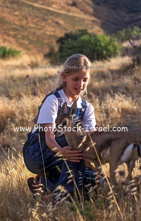 Young girl with a juvenile gazelle