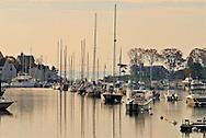 Connecticut, Rowayton, boats in a row in harbor