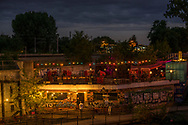 A look at Else Open Air, a club and biergarten in Treptow, at night, Berlin 2016.