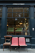 Exterior of Atomic Antiques on 14th October 2015 in London, United Kingdom. Atomic Antiques is based on Shoreditch High Street in East London